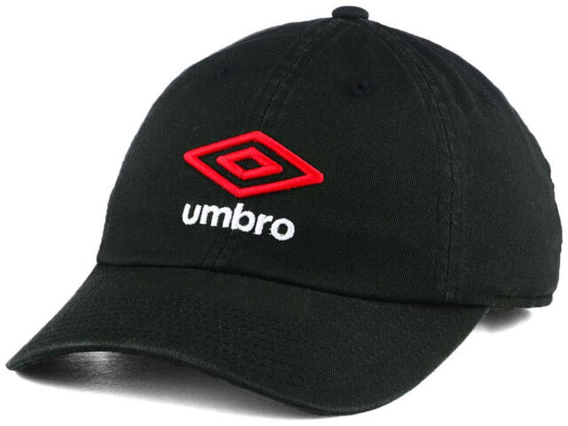 62be5d3fcfb40 Umbro Soccer Player Relaxed Fit Adjustable Black Football Dad Hat Red Logo  Cap
