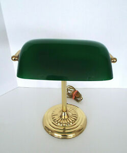 Vintage-Bankers-Desk-Lamp-Green-Glass-Shade-Brass-stand-Library-Piano-Art-Deco