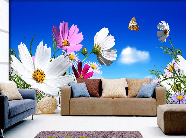 3D bluee Sky Wildflowers 834 Wallpaper Mural Paper Wall Print Wallpaper Murals UK