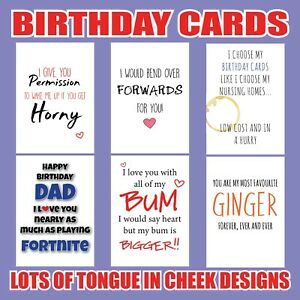 Image Is Loading FUNNY Rude BIRTHDAY Greeting Cards Him Her Dad