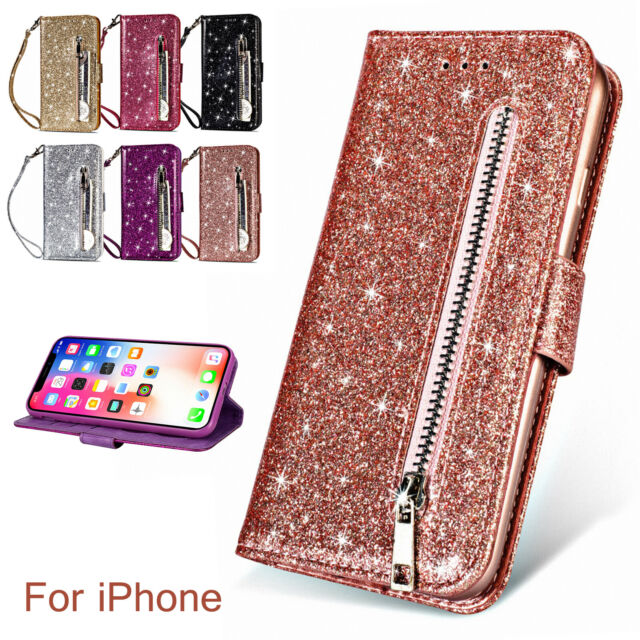 Bling Glitter Leather Wallet Card Holder Zipper Stand Case Fr Samsung S10e/S9/S8