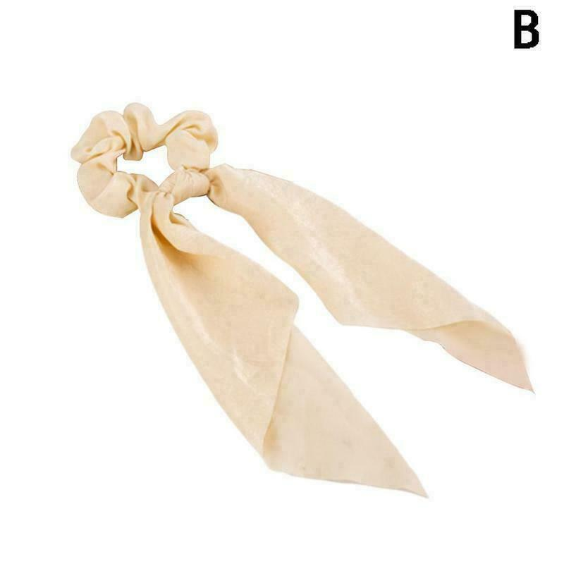Bow Satin Ribbon Ponytail Scarf Hair Tie Scrunchies Rope Hair Elastic F9Z0