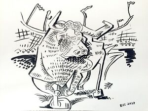 Pablo Picasso Style Cubist Bull Ink Drawing on Paper, Original Signed