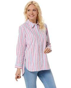 Denim-amp-Co-Womens-Yarn-Dyed-Stripe-Stretch-Poplin-Big-Shirt-Large-Blue-A352966