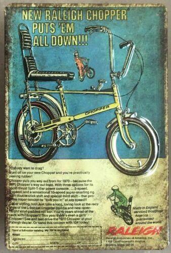 BONANZARAD Fahrrad CHOPPER  RALEIGHT BLECHSCHILD  REKLAME 20 x 30 cm