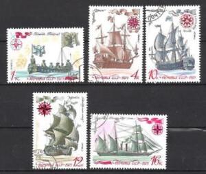Bateaux-URSS-91-serie-complete-de-5-timbres-obliteres