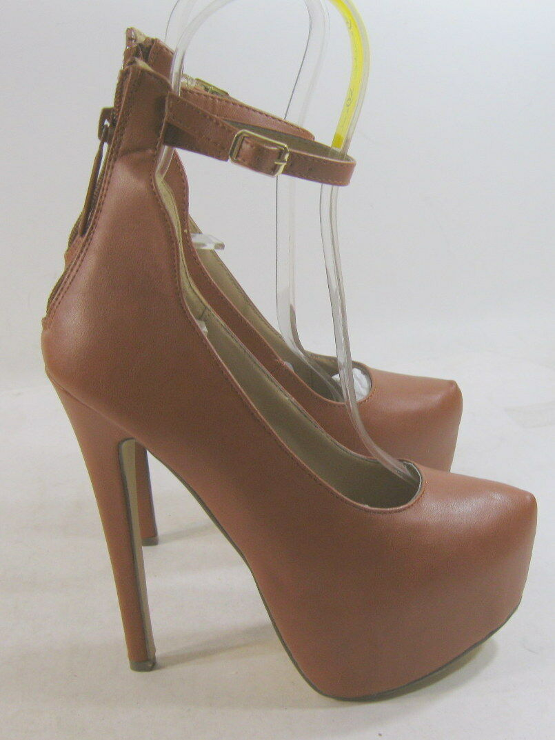 New Tan 6 Stiletto High Heel 2 Platform Ankle Strap Sexy shoes Size 6
