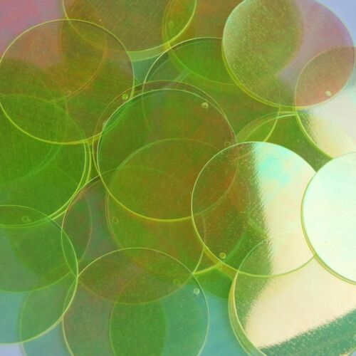 """Lime Yellow Crystal Rainbow Iris Sequins Round 1.5/"""" Large Couture Paillettes"""