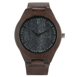 Fashion Bamboo Nature Wood Genuine Leather Band Men Women Analog Wrist Watch