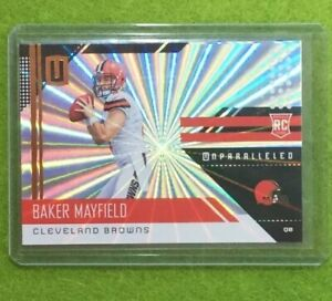 BAKER-MAYFIELD-ROOKIE-CARD-PRIZM-REFRACTOR-2018-Panini-UNPARALLELED-Shine-RC-SSP