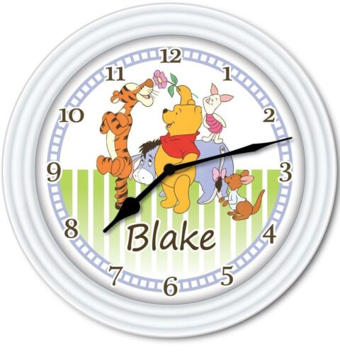 Disney Baby Nursery Kids Bedroom GIFT Winnie The Pooh PERSONALIZED Wall Clock