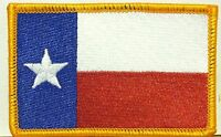 Texas Flag Military Patch With Velcro® Brand Fastener Gold Border