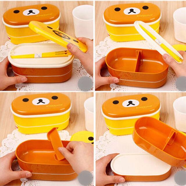 Japanese 2-tier Food Storage Bento Lunch Box Set New