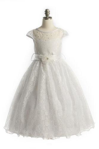 First Communion Flower Girl Dress Cap Sleeved Lace Birthday Wedding Bridesmaid