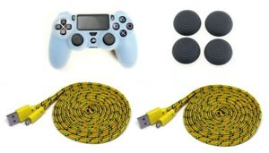 Playstation-4-Set-Silikon-Schutzhuelle-2x-3-Meter-Ladekabel-Thumb-Grips-4-Stk