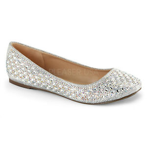 Image is loading Silver-Rhinestone-Ballet-Flats-Vintage-Wedding-Low-Heels- ee3fa0f8c