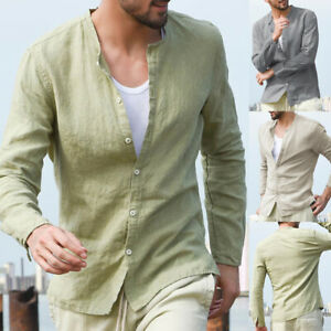 Vintage-Hommes-T-shirt-en-lin-coton-chemise-a-manches-longues-sans-col-automne