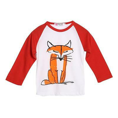 Toddler Kids Baby Boys Fox Print T-shirt Long Sleeve Tops Clothes Size 1-6 Years