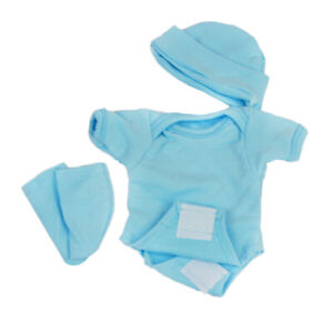 Cute Blue Romper Socks Hat Set Outfit Clothing for Newborn Baby Doll Reborn
