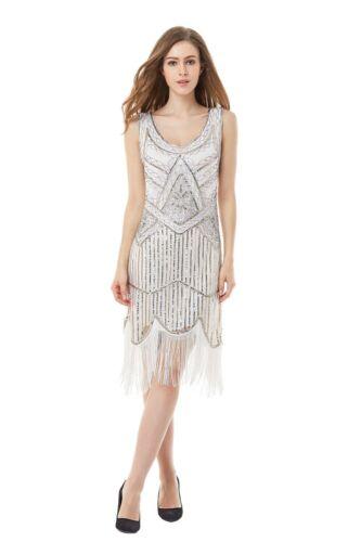 Ladies Deluxe 20s Roaring 1920s Flapper Costume Sequin Pearls 20/'s Fancy Dress