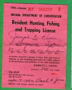 Indiana 1969 resident hunting fishing trapping license for Louisiana non resident fishing license