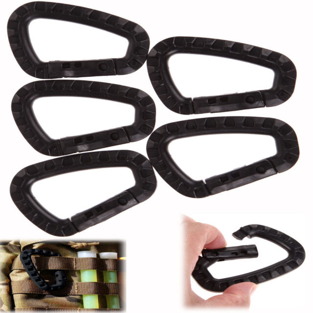 5pcs Outdoor Carabiner D-Ring Key Chain Clip Hook Camping Plastic Buckle BE