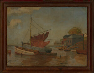 C-J-Wright-Framed-Mid-20th-Century-Oil-A-Corner-of-Brixham-Harbour