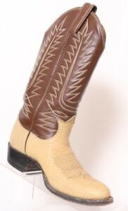Tony-Lama-Beige-Bull-Hide-Brown-Leather-Upper-Pull-On-Western-Boot-Youth-US-3