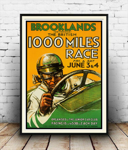 Brooklands 1000 mile race Vintage Motor racing Reproduction poster Wall art.