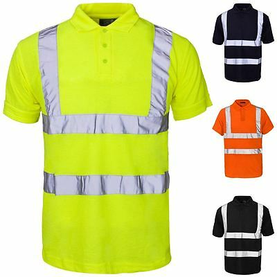 HI VIS POLYESTER OUTER COTTON BACK TWO TONE WORK SINGLETS SIZES XS~7XL