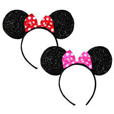 2x Disney Minnie Mouse Glitter Ears Shaped Headbands Costume Party Favors PK RD