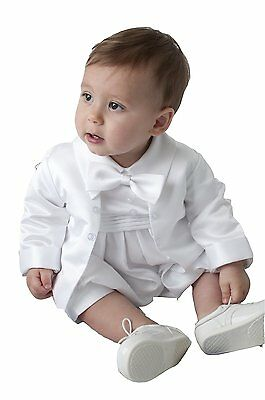 Boys Christening Romper 2 Piece Suit Outfit White or Ivory sizes up to 24 Months