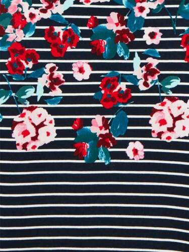 Sizes 8-18 Joules Harbour Print Jersey Cotton Jersey Top Navy Floral Stripe