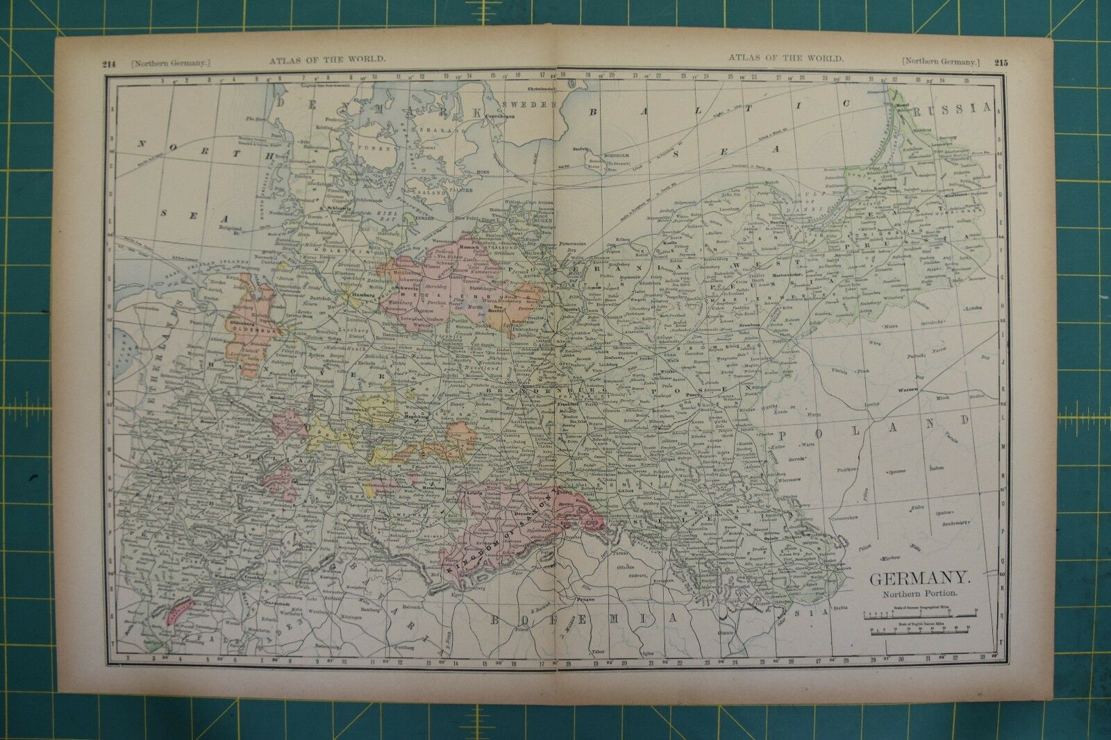 north germany vintage original 1894 rand mcnally world atlas map lot