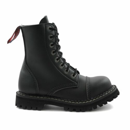 Angry Itch 8 Hole Black Combat Vegan Leather Army Ranger Boots Steel Toe Zip