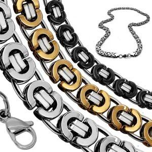 Koenigskette-flach-Halskette-Panzerkette-Herren-Edelstahlkette-Armband-silber
