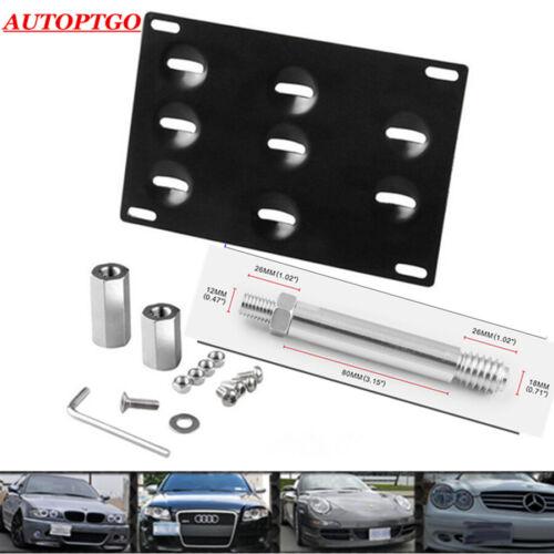 Car Front Bumper Tow Hook License Plate Dual adaptor Mounting Bracket Holder Kit