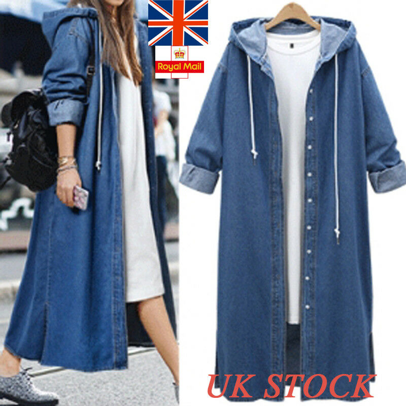 UK Womens Denim Long Sleeve Hoodie Coat Ganzkörperansicht Knöpfe Jacke Outdoor Tops