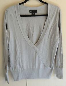 Women-039-s-Lane-Bryant-Gray-V-Neck-Long-Sleeve-Cotton-Sweater-Size-14-16