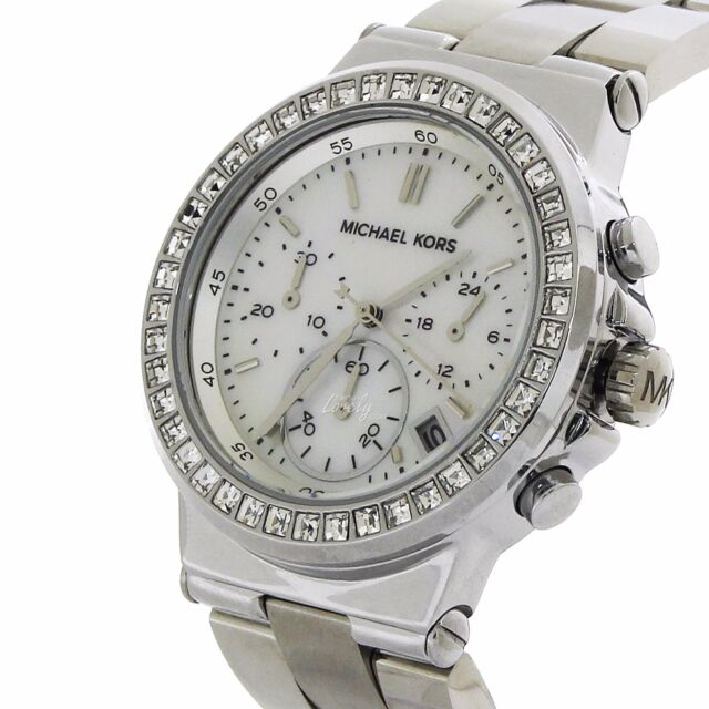 Michael kors womens mk5585 chronograph crystal stainless steel michael kors mk5585 blair mother pearl glitz silver womens watch gumiabroncs Gallery