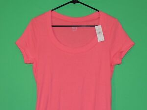Ann-Taylor-LOFT-Womens-Size-L-Large-Pink-Short-Slv-Shirt-Top-NEW