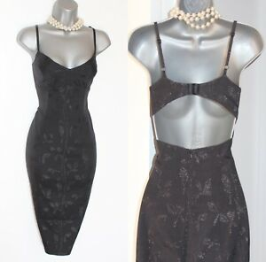 Karen-Millen-Reino-Unido-12-Negro-Metalizado-Estampado-Espalda-Abierta-Fiesta-Coctel-Vestido-de