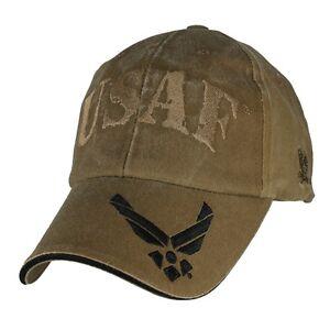 USAF Coyote Brown Washed Cap Air Force Wings Hat U.S