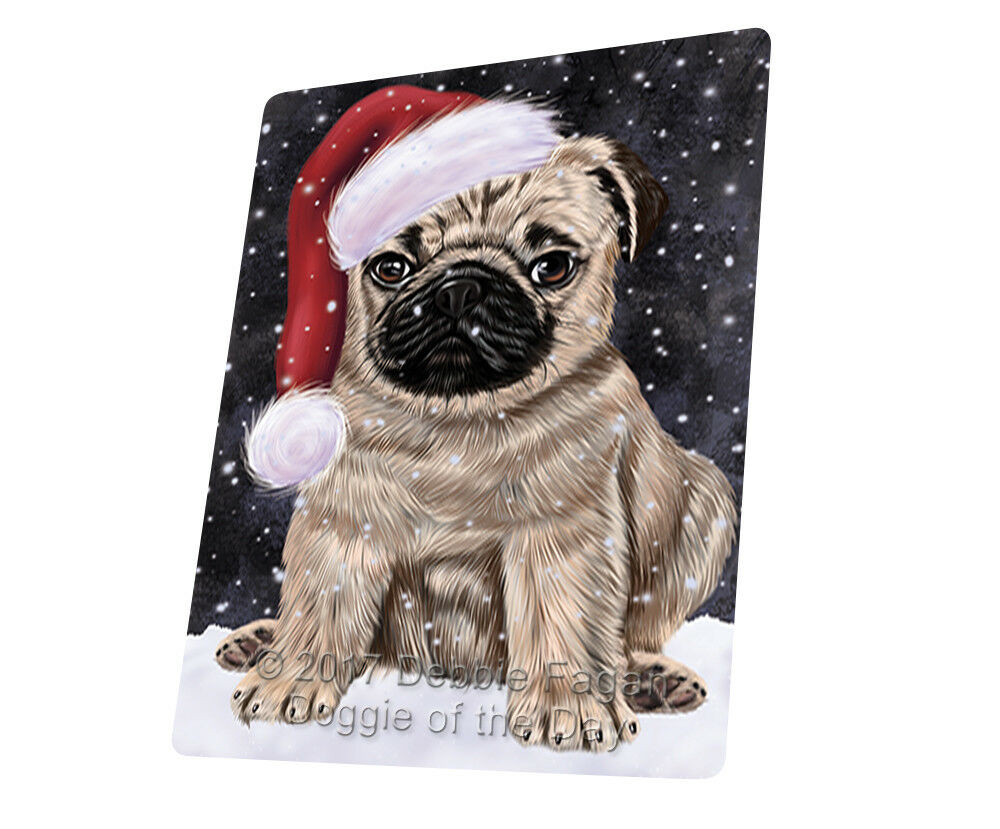 Let it Snow Christmas Holiday Pugs Dog Woven Throw Sherpa Blanket T112