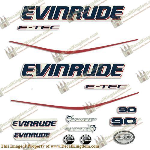 Evinrude 90hp E-Tec Decal Kit 3M Marine Grade