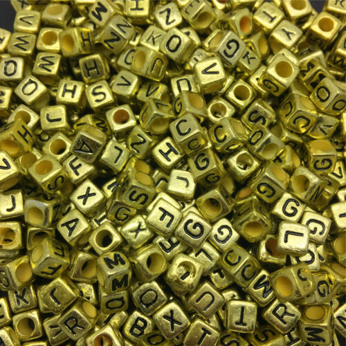 100PCS DIY 6X6mm 26 Letter Gold Silver Alphabet//Letter Acrylic Cube Beads Choose