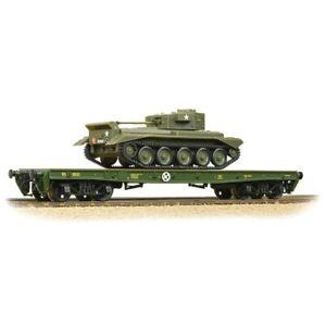Bachmann-38-726-Warflat-Bogie-Flat-Wagon-WD-Bronze-Green-with-tank-BNIB