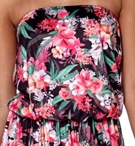 NEW Club L Printed Bandeau Stretch Maxi Floral Dress Size UK 8,10,12,14,16,18,20