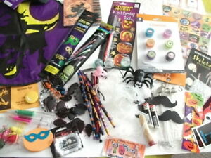 Lot-100-Halloween-Party-Supplies-Favors-Props-Decor-Lights-Bugs-Stickers-more