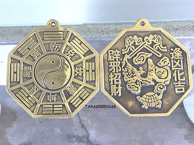 """Feng Shui Brass Ba Gua Mirrors Convex  PROTECT YOUR HOUSE, DIA 4""""0 - H 4.5"""""""